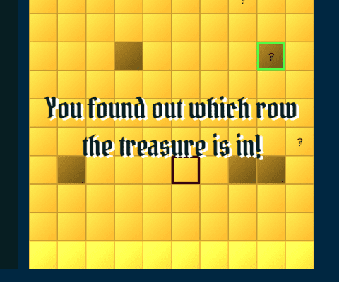 Screenshot of player finding out the treasure row